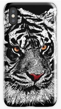 White albino tiger iPhone Cases & Skins #iphonecase #iphonex #case #popart #streetart #painting #digital #oil #watercolor  #blackandwhite #animal #cat #tiger #lion #whitetiger #sumatra #cool #tigereye #albino #calvinandhobbies  #kitty #kitten #animals #karate #kungfu
