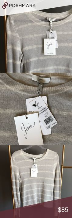 🆕 Joie- 100% Cashmere Gray/White Stripped Sweater This ultra soft Joie Cashemre sweater is brand new! It is light weight and perfect for the spring season! Pair this with a pair of white jeans and wedges. Joie Sweaters Crew & Scoop Necks