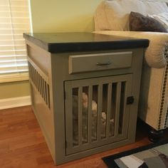 RYOBI Nation is a community of DIYers, RYOBI Fanatics, and people just like YOU, who share a passion for tools and seeing their ideas come to life. Dog Kennel End Table, Dog Crate End Table, Crate Bench, Diy Dog Crate, End Table Plans, Diy End Tables, Cool Dog Houses, Kitchen Benches, Dog Food Storage