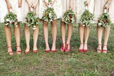 Ah! Something I wouldn't feel terrible forcing bridesmaids to buy: red shoes. Every woman needs red shoes; this is something she'll realize once she owns them.