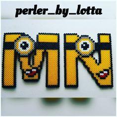 M-N Minion alphabet hama beads by perler_by_lotta