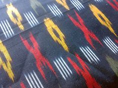 Fabric Cotton Ikat Black Red Yellow White Indian. Sold Out!