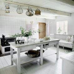 Architecture : Marvelous Vintage White Residence Interior In Sweden And Architecture Awesome Kitchen With White Details In Old Home Nuance With Black And White Theme Stunning Vintage House And White Wooden Ceilling And White Wooden Sofa Coutch Marvelous Vintage White Residence Interior in Sweden Interior Design ‎. Vintage Home Design Blogs. Beautiful Interior Design.
