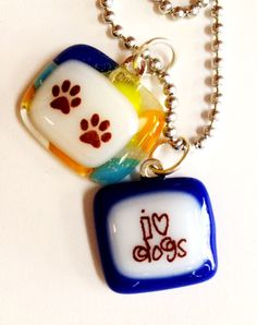 I heart dogs with pawprints glass fused necklace by cathystratton, $20.00