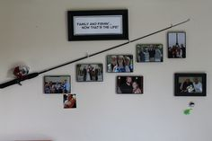 "I tweaked another Pinterest idea I saw for this fishing pole decor for my father-in-law's birthday.  He loved to fish when he was younger, and he loves his family!  So for some decor in his room at the rest home, my sister-in-laws and I put this idea together!  A picture of him and my mother-in-law is right above the hook--for she's the greatest ""catch""!"