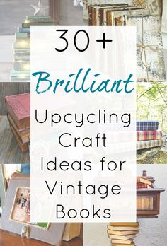 Upcycling Ideas for Old Books and Repurposed Book Craft Projects : Looking for some upcycling ideas for old books? Then this collection of repurposed book projects is just what you need! From upcycled book pages to craft projects that repurpose the ent Recycled Book Crafts, Old Book Crafts, Book Page Crafts, Recycled Art, Book Projects, Diy Craft Projects, Craft Ideas, Book And Coffee, Diy Old Books