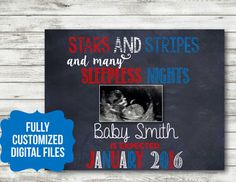 Fourth of july sonogram pregnancy announcement PRINTABLE Digital download january july 4th of july red white blue July Baby Announcement, Pregnancy Photos, Maternity Photos, January Baby, Baby Due, Sleepless Nights, Baby Makes, Gender Reveal, Fourth Of July