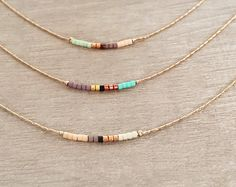 715942e89da8 Minimalist Delicate Gold Double Necklace with Tiny Beads   Thin Layering  Boho Necklace   Colorful   Simple Beaded Chain Necklace
