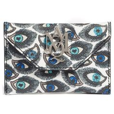 Women's Alexander Mcqueen Eye Print Calfskin Leather Card Case ($265) ❤ liked on Polyvore featuring bags, wallets, multicolor, multi color wallet, card carrier wallet, card holder wallet, slim card case wallet and pattern bag