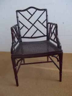 Classic Chippendale Faux bamboo Hollywood regency Arm chair