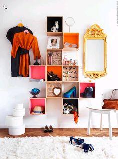 shelves made with FÖRHÖJA from Ikea Ikea Forhoja, Closet Ikea, Box Shelves, Bookshelf Storage, Ikea Shelves, Wall Storage, Diy Casa, Interior Photography, Diy Home Decor