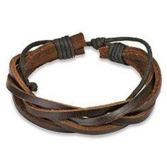 West Coast Jewelry Brown Twisted Leather Bracelet