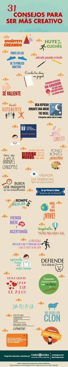 31 consejos para ser más creativo #infografia #infographic #creatividad | TICs y Formación