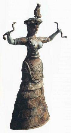 Snake goddess (c. 1500 BC) earthenware – from the Palace of Knossos Iráklion, Archeological Museum Plazy, History of Art in Pictures, p. 3...