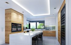 Projekt domu Wyjątkowy 2 - 201.09 m2 - koszt budowy 361 tys. zł Corner Pantry, Charming House, Kitchen Sets, Luxury Kitchens, Architecture, My House, Kitchen Design, Bungalow, Contemporary