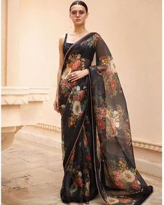 Buy Bollywood Sabyasachi Inspired black organza saree in UK, USA and Canada Floral Print Sarees, Printed Sarees, Indian Dresses, Indian Outfits, Pakistani Dresses, Look Fashion, Indian Fashion, Fashion Outfits, Trendy Outfits