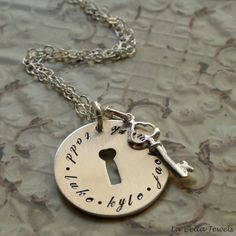 Personalized Hand Stamped Mother's Family Key by labellajewelsltd, $45.00