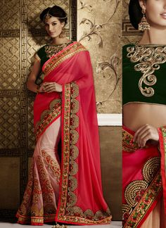 Pink & Cream Soft Net Party Wear Saree