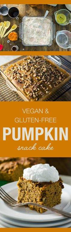 Pumpkin Snack Cake - an easy vegan and gluten free dessert recipe you mix and bake in the same pan | Veggie Primer.com
