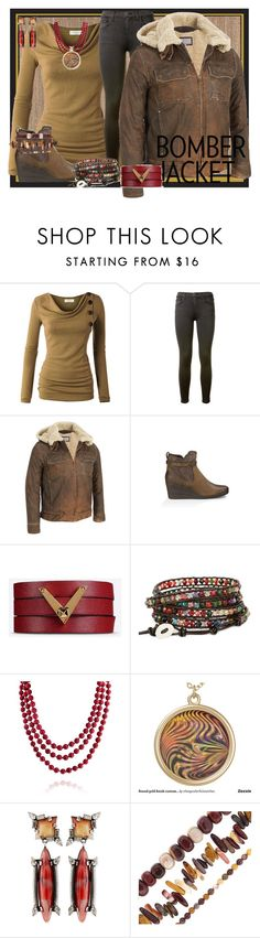 """Bomber Jacket 2"" by roquinn ❤ liked on Polyvore featuring Current/Elliott, Wilsons Leather, UGG Australia, Valentino, Bling Jewelry, DANNIJO, Pearlz Ocean, women's clothing, women and female"