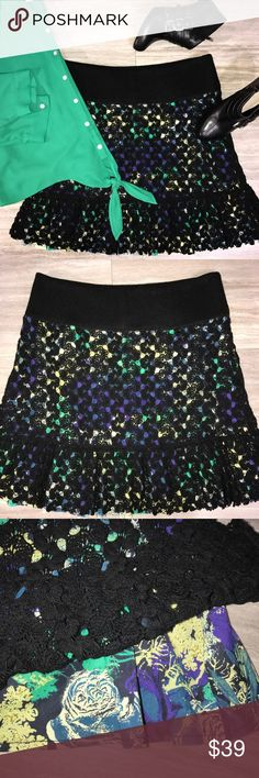 Free People Crochet Overlay Mini Skirt Free People mini skirt. Black crochet overlays a cotton floral print skirt. Rough cut edging on hemline, thick knit elastic stretch waistband. Great condition. Free People Skirts Mini