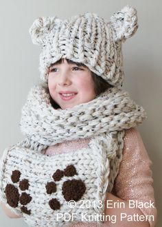 DIY Knitting PATTERN - Chunky Bear Hat and Muff Cowl in Toddler, Child and Adult Sizes