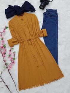 Stylish Dresses For Girls, Dress Clothes For Women, Girls Fashion Clothes, Fashion Outfits, Denim Shirts For Girls, Long Sleeve Vintage Dresses, Kids Party Wear Dresses, Hijab Look, Modest Fashion Hijab