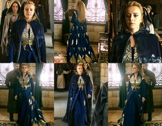 Humasha sultan, blue dress with gold accents.