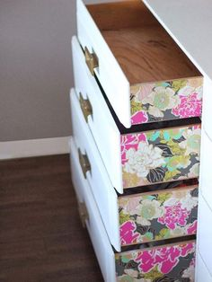 Wallpaper adds a fun accent to furniture pieces!