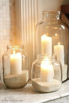 Sand & Candles in Mason Jars - simple and pretty / frascos con arena y velas Vintage Jars, Vintage Shabby Chic, Vintage Diy, Vintage Decor, Glass Jars, Mason Jars, Candle Jars, Sand Glass, Hurricane Lanterns