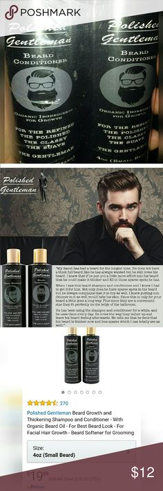 Beard Growth and Thickening Shampoo & Conditioner Polished Gentleman  Shipping Wt. 10.2 ounces NEW/UNOPENED  Retails for $19.99 on Amazon and other fine stores.  Beard Growth and Thickening Shampoo, 4oz and Conditioner, 4oz - With Organic Beard Oil   For Best Beard Look - For Facial Hair Growth - Beard Softener for Grooming Polished Gentleman Intimates & Sleepwear