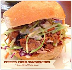 Pulled Pork Sandwiches (Sweet & Smoky in the Crock-Pot)  Simple to make - only 2 ingredients needed for the pork! So good!    SweetLittleBluebird.com