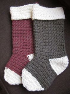 Crocheted Christmas stockings. The perfect shape!