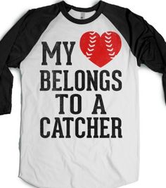My Heart Belongs To A Catcher (Baseball Tee) - Sports Girl - Skreened T-shirts, Organic Shirts, Hoodies, Kids Tees, Baby One-Pieces and Tote Bags