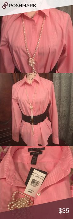 🆕 💯 cotton Ralph Lauren long sleeve Beautiful and elegant 💯 cotton Ralph Lauren long sleeve pink and white stripes shirt 👚 New with tags Tops Blouses