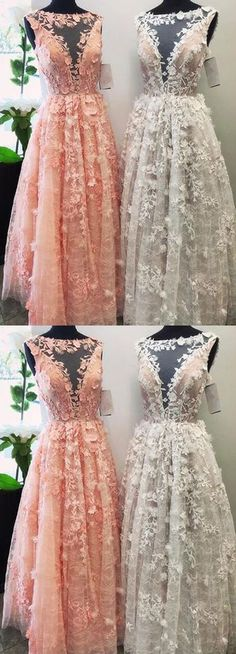 Charming A-Line Bateau Lace Long Prom/Evening Dress with Appliques B0746