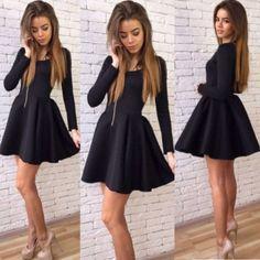 Fashion Women Lady Long Sleeve O Neck High Waist Casual Party Pleated Mini Dress Black