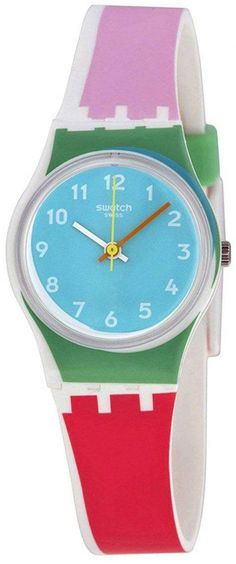 Features: Plastic Case Silicone Strap Quartz Movement Plastic Crystal Aqua-Blue Dial Analog Display Pull/Push Crown Solid Case Back Buckle Clasp Water Resistance Approximate Case Diameter: Approximate Case Thickness: Swatch, Aqua Blue, Red And Pink, Online Watch Store, Casual Watches, Plastic Case, Quartz Watch, Bracelet Watch, Crystals