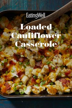 You'll never want to eat roasted cauliflower any other way once you try this tasty recipe. Bacon, sour cream and sharp Cheddar cheese coat good-for-you cauliflower in deliciousness for an easy side th Hotdish Recipes, Healthy Casserole Recipes, Healthy Recipes, Healthy Appetizers, Vegtable Casserole Recipes, Vegetable Casserole Healthy, Casseroles Healthy, Easy Cooking, Recipes