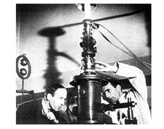 ELECTRON MICROSCOPE    Max Knoll and Ernst Ruska invented the electron microscope in 1931 and proved that using electron beams could reveal images of matter. It allowed people to explain with picture proof what everything in the world was made of.