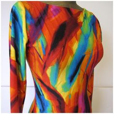 Sexy rainbow club bodycon dress sz SM Hand made. Got it from another friend :) very sexy bodycon style, stretchy, multicolored and long sleeved. Would fit XS to L :) Handmade Dresses Long Sleeve