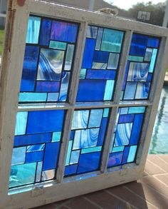 "Blue Stained Glass Mosaic Vintage Repurpose Wooden Window ""Blue Rhapsody"""