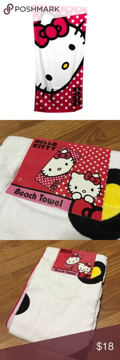 Hello Kitty Beach Towel Hello Kitty Beach Towel for you're next visit to your favorite beach. Can also use it at home as an everyday bath towel. Super cute in a Polkadot style with large hello kitty logo. The color is a fuchsia pink-red, not a true red. Measures 30 in x 60 in, material: 100% cotton. Hello Kitty by Sanrio merchandise. Questions welcomed. Hello Kitty Accessories
