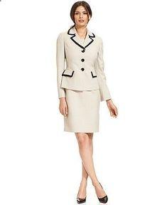 dfa412bc3e Women s Suits   Suit Separates -  womenssuits suitseparates - Le Suit  Contrast-Trim Blazer Sleeveless