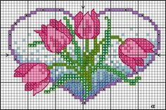 FREE Floral heart design with tulips « Lesley Teare Cross Stitch Heart, Cross Stitch Flowers, Counted Cross Stitch Patterns, Cross Stitch Designs, Cross Stitch Embroidery, Tulip Colors, Cross Stitch Freebies, Cross Stitching, Floral