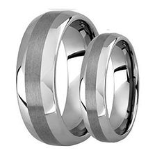 His  Hers 8MM6MM Polished Shiny Domed With Brush Center Tungsten Carbide Wedding Band Ring Set -- Continue reading at the image link.