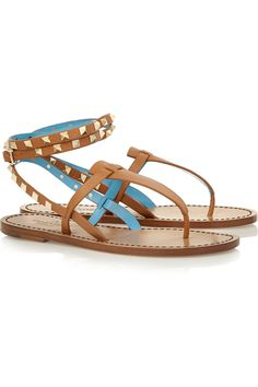 Valentino | Studded two-tone leather sandals | NET-A-PORTER.COM