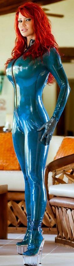 Bianca Beauchamp in transparent blue latex catsuit