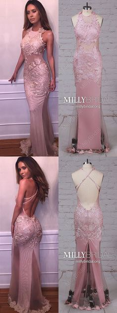 Pink Prom Dresses For Teens,Long Prom Dresses Mermaid,Sexy Prom Dresses Open Back,Tulle Prom Dresses Sleeveless,Simple Prom Dresses Lace