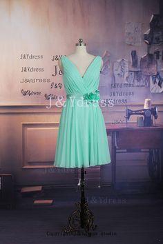 Straps Vneck Short Chiffon Bridesmaid Dress With Flower by JYdress, $89.00